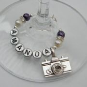 Camera Personalised Wine Glass Charm - Elegance Style